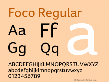 Foco Regular Version 1.00 ; July 06 2006 Font Sample