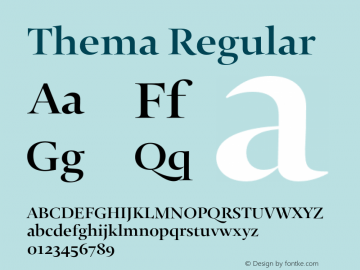 Thema Regular Version 1.0 Font Sample