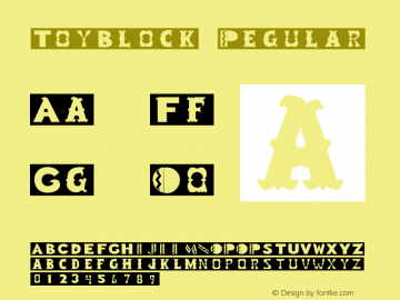 ToyBlock Regular Altsys Fontographer 3.5  3/29/92图片样张