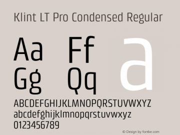 Klint LT Pro Condensed Regular Version 1.00 Font Sample
