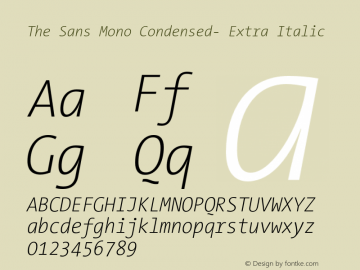 The Sans Mono Condensed- Extra Italic Version 001.000 Font Sample