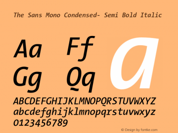 The Sans Mono Condensed- Semi Bold Italic Version 001.000 Font Sample