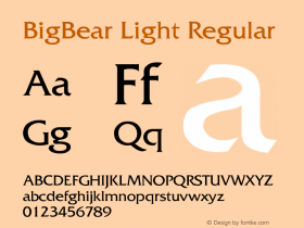 BigBear Light Regular Unknown Font Sample