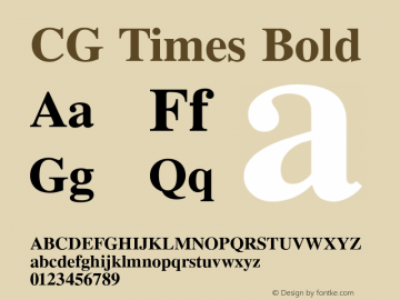 CG Times Bold Version 1.04 Font Sample