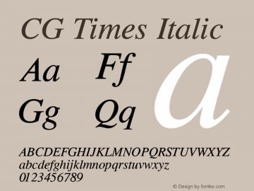 CG Times Italic Version 1.04 Font Sample