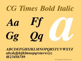 CG Times Bold Italic Version 1.04 Font Sample