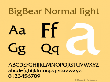 BigBear Normal light Unknown Font Sample