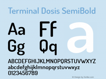 Terminal Dosis SemiBold Version 1.006 Font Sample