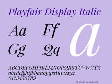 Playfair Display Italic Version 1.000 Font Sample