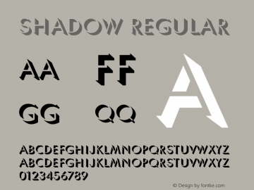 Shadow Regular Font Version 2.6; Converter Version 1.10 Font Sample