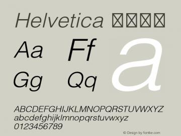 Helvetica 细伪斜体 8.0d3e1 Font Sample