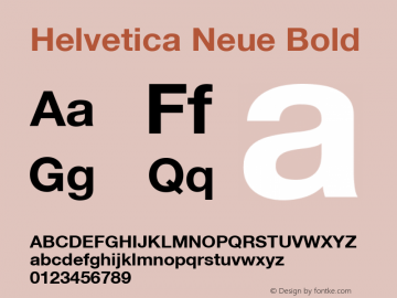 Helvetica Neue Bold Version 001.102 Font Sample