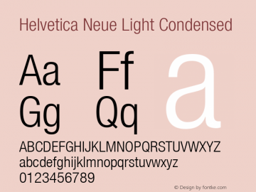Helvetica Neue Light Condensed Version 001.000 Font Sample