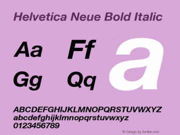 Helvetica Neue Bold Italic Version 001.102 Font Sample