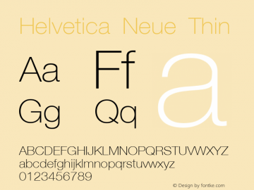 Helvetica Neue Thin Version 001.003 Font Sample