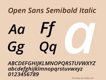 Open Sans Semibold Italic Version 1.10 Font Sample