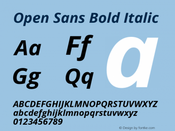 Open Sans Bold Italic Version 1.10 Font Sample