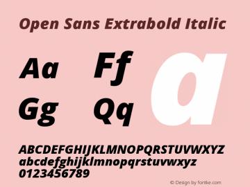 Open Sans Extrabold Italic Version 1.10 Font Sample