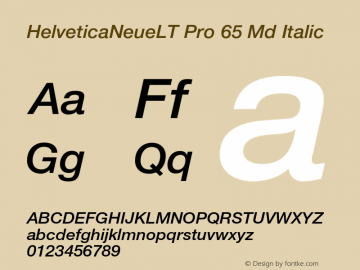 HelveticaNeueLT Pro 65 Md Italic Version 1.000;PS 001.000;Core 1.0.38 Font Sample