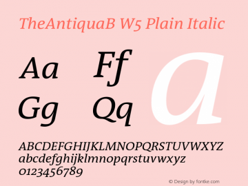 TheAntiquaB W5 Plain Italic Version 1.72 Font Sample