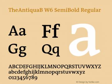 TheAntiquaB W6 SemiBold Regular Version 1.72 Font Sample