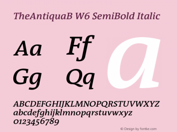 TheAntiquaB W6 SemiBold Italic Version 1.72 Font Sample