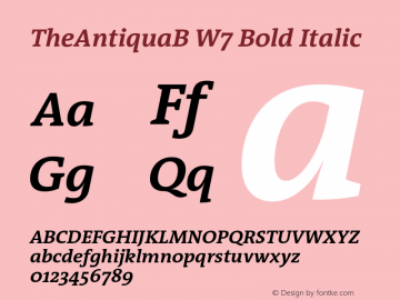 TheAntiquaB W7 Bold Italic Version 1.72 Font Sample