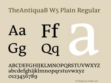 TheAntiquaB W5 Plain Regular Version 1.72 Font Sample