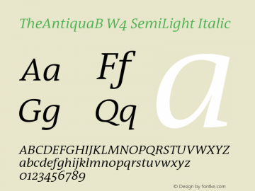 TheAntiquaB W4 SemiLight Italic Version 1.72 Font Sample