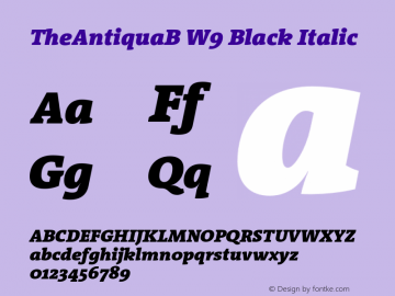 TheAntiquaB W9 Black Italic Version 1.72 Font Sample