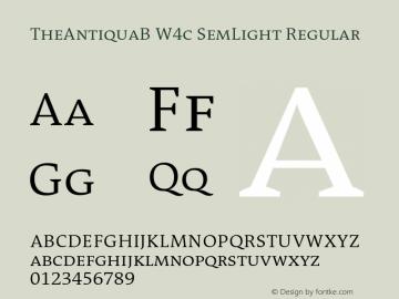 TheAntiquaB W4c SemLight Regular Version 1.72 Font Sample