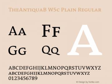 TheAntiquaB W5c Plain Regular Version 1.72 Font Sample