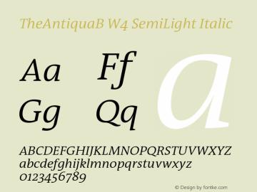 TheAntiquaB W4 SemiLight Italic Version 1.72 Font Sample