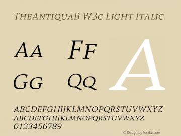 TheAntiquaB W3c Light Italic Version 1.72 Font Sample