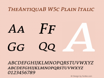 TheAntiquaB W5c Plain Italic Version 1.72 Font Sample