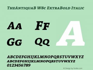 TheAntiquaB W8c ExtraBold Italic Version 1.72 Font Sample