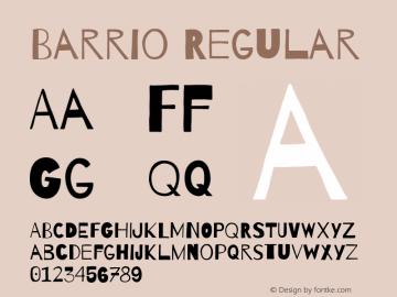 Barrio Regular Version 1.002;PS 001.002;hotconv 1.0.70;makeotf.lib2.5.58329 Font Sample