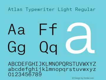 Atlas Typewriter Light Font,AtlasTypewriterLight Font,Atlas