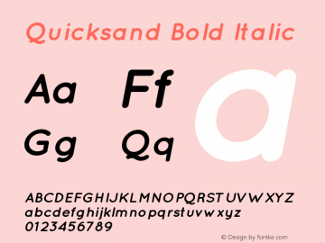 Quicksand Bold Italic 1.002 Font Sample