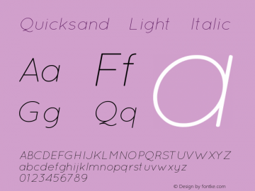Quicksand Light Italic 1.002 Font Sample