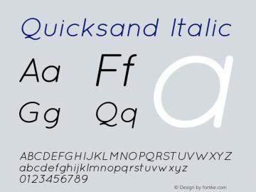 Quicksand Italic 1.002 Font Sample