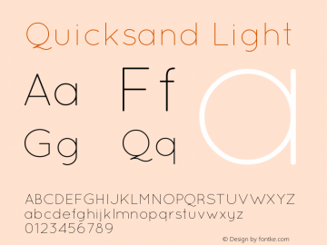 Quicksand Light 1.002 Font Sample