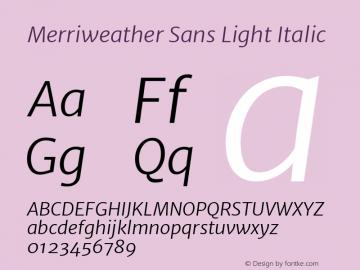 Merriweather Sans Light Italic Version 1.000 Font Sample