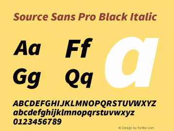 Source Sans Pro Black Italic Version 1.033;PS 1.000;hotconv 1.0.70;makeotf.lib2.5.58329 Font Sample