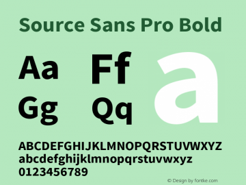 Source Sans Pro Bold Version 1.033;PS 1.000;hotconv 1.0.70;makeotf.lib2.5.58329 Font Sample