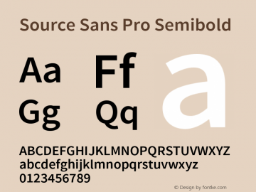 Source Sans Pro Semibold Version 1.033;PS 1.000;hotconv 1.0.70;makeotf.lib2.5.58329 Font Sample