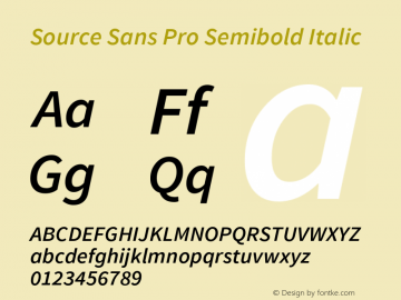 Source Sans Pro Semibold Italic Version 1.033;PS 1.000;hotconv 1.0.70;makeotf.lib2.5.58329 Font Sample