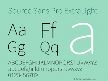 Source Sans Pro ExtraLight Version 1.033;PS 1.000;hotconv 1.0.70;makeotf.lib2.5.58329 Font Sample