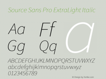 Source Sans Pro ExtraLight Italic Version 1.033;PS 1.000;hotconv 1.0.70;makeotf.lib2.5.58329 Font Sample