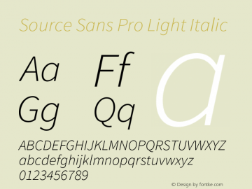 Source Sans Pro Light Italic Version 1.033;PS 1.000;hotconv 1.0.70;makeotf.lib2.5.58329 Font Sample